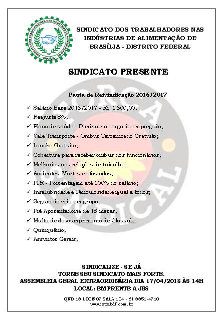 PAUTA REIVINDICAÇÃO 16E17